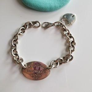 Tiffany & Co silver Heart bracelet with charm